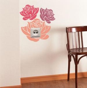 Розы - наклейка на розетку, включатель, выключатель