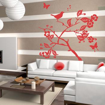 Декоративный узор - сакура и соловей