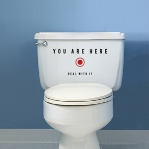 You are here, наклейка на туалет