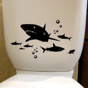 наклейка на унитаз - Акулы