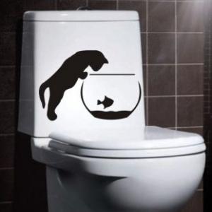 наклейка на унитаз - Кот и рыбка