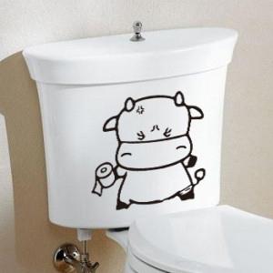 наклейка на туалет Коровка