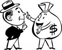 Мужчина и мешок денег
