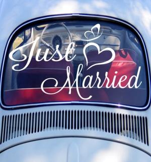 Just married нежность - наклейка на свадьбу