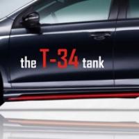 The T-34 tank - наклейка на авто ко дню Победы