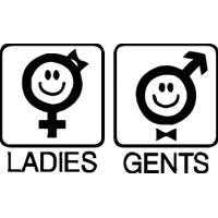 Леди и Джентльмены - наклейка в wc