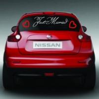 Молодоженам - Just married - наклейка на авто