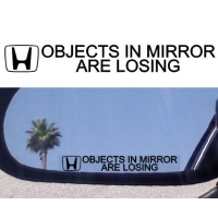 Objects in mirror наклейка (без лого)