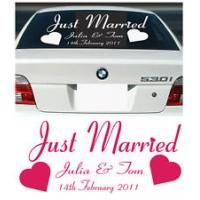 Just married и имена - наклейка на авто свадебная