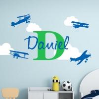 Имя, самолеты, облака - набор наклеек