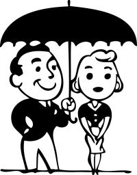 Пара под зонтиком