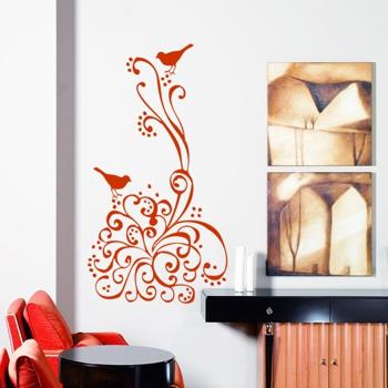 Декоративный узор - птицы в цветах