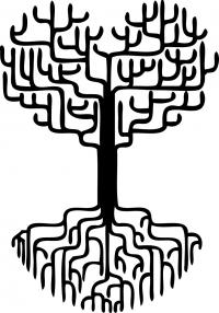 Дерево-сердце с глубокими корнями