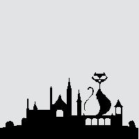 Черная кошка на крыше