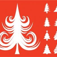 .Елочки - набор новогодних наклеек