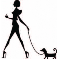 Дама с собачкой, наклейка